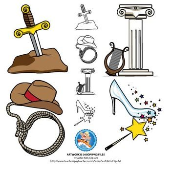 Both color and black and white outline.Sword in the stone, Greek column, Harp, lasso, cowboy hat, magic wand with fairy dust, slipper.Only pay with rating and feedback please!!!