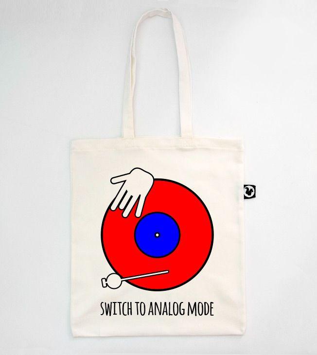 Vinyl Tote Bag   #totebags #screen #printed #handmade #serigrafia #diseño #vinyl #dj #shopping #shopper #goodie #bag