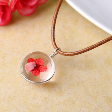 Lovely Dried Flowers Crystal Ball Pendant Wax Rope Clavicle Necklaces at Banggood