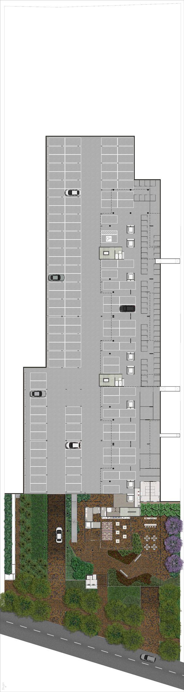 Planta Humanizada da implantação do pavimento 01 desenvolvida para o empreendimento City Parque Itu.  Floor Plan