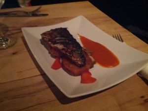 Grilled mackerel with potato latke