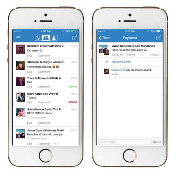 Just like scrolling through a Facebook news feed, other people on the app can see payment interactions between friends. It doesn't show anyone else's dollar amounts, but shows creative (and often very humorous) explanations written by the user and any likes or comments from others.  Like a status update, these transactions tell a story about what friends are up to – who went to dinner together, who shared an Uber, who got charged for Oktoberfest tickets, what couples are splitting the…