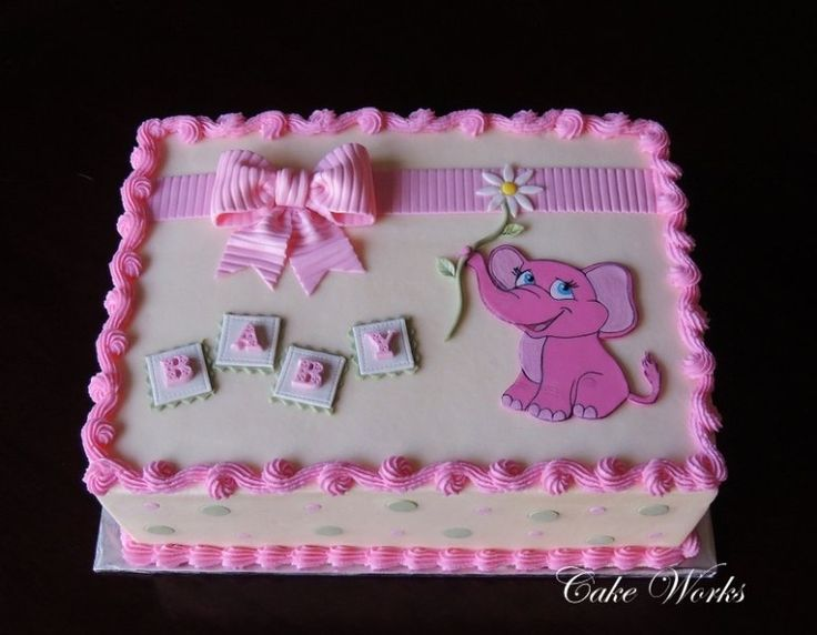 Pink Elephant Baby Shower   Pink Elephant Is Cut Out Of Fondant And  Handpainted. Cake Is Iced In Buttercream With Fondant Accents And Gumpaste  Bow.