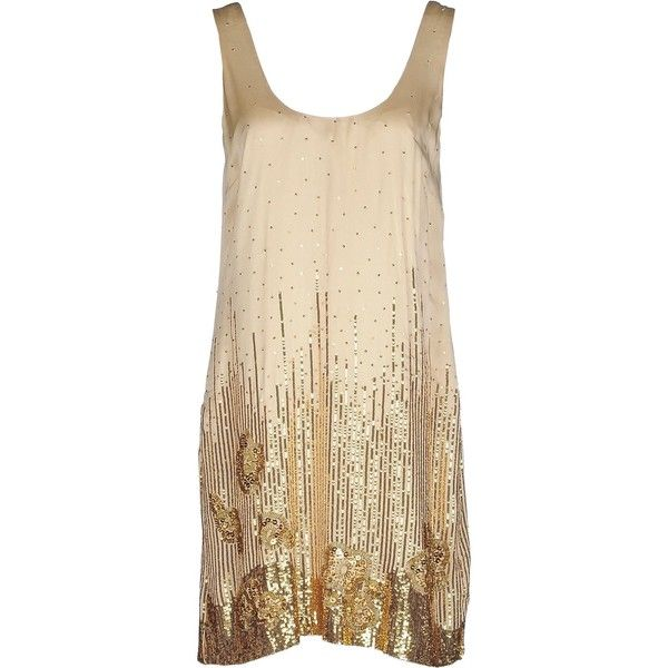 Halston Heritage Short Dress (39680 RSD) ❤ liked on Polyvore featuring dresses, beige, sleeveless dress, short sequin dress, sequin embellished dress, sequin mini dress and sequin dress