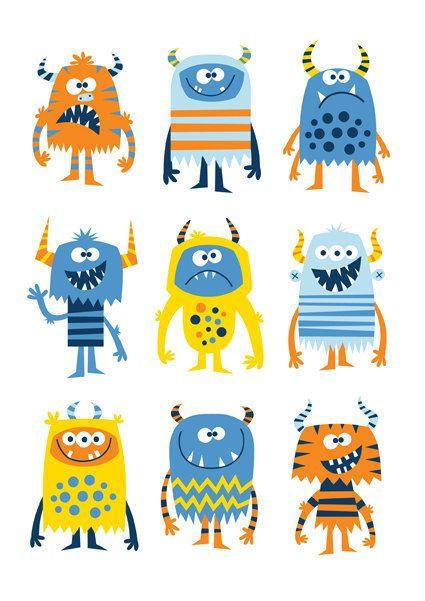 Vivero arte niño imprimir monster niños monstruo por BubbleGumYears