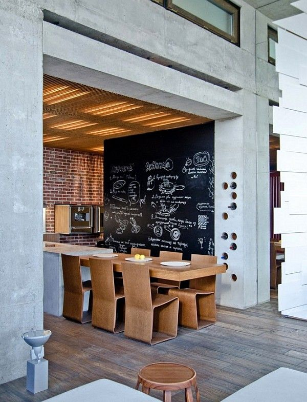 Chalkboard. Also, how dining table is part of the kitchen.