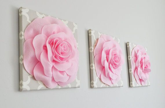 "Trio Wall Hanging -Light Pink Rose on Neutral Taupe Gray Tarika Print 12 x12"" Canvas Wall Art- Baby Nursery Wall Decor- Baby Pink Nursery"