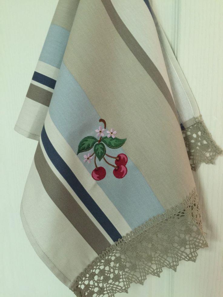Tea Towel Dish Towel Linen Cotton Hand Towel Embroidery Striped Kitchen (9.88 USD) by Rokasdarbi