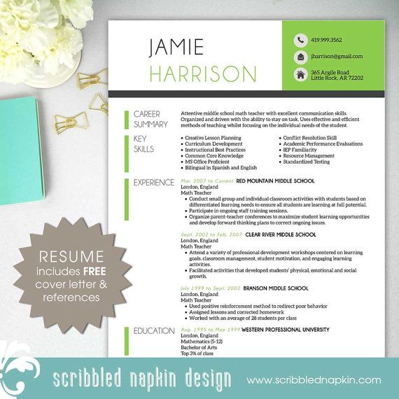 teacher resume template resume with free cover letter and references instant download ms - Free Resume Template For Teachers