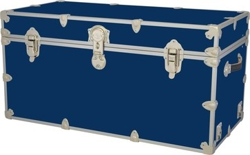Steamer trunk re-purposed as toy box - vintage blue - mine is same color but old and rusty...!