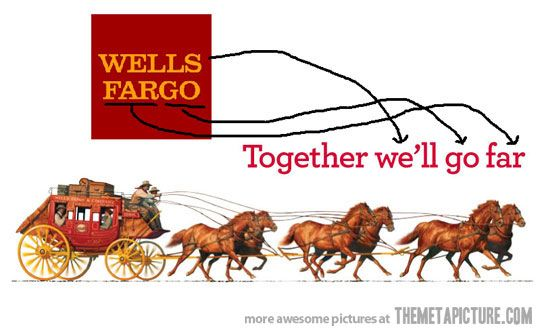I work for Wells Fargo and look/use this logo almost on a daily basis and this never occurred to me...