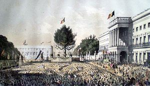 Belgian National Day (Dutch: Nationale feestdag van België; French: Fête nationale belge; German: Belgischer Nationalfeiertag) is the national holiday of Belgium celebrated on 21 July each year. It is one of ten public holidays in Belgium.