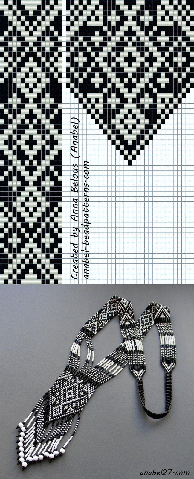 Схема черно-белого гердана   - Схемы для бисероплетения / Free bead patterns -
