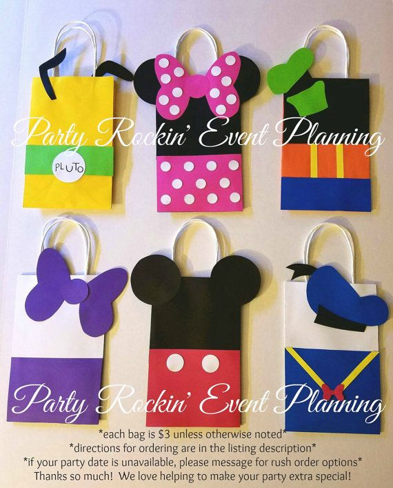 Bolsas de regalo Favor fiesta Mickey Minnie y por PartyRockinEvents