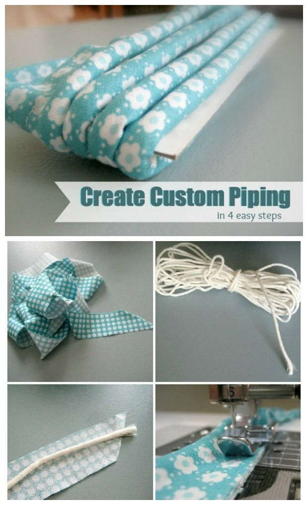 Learn how to create custom piping to coordinate, contrast or match your projects in 4 simple steps. Directions are easy to follow. I love making my own piping for pillows and for definition in my favorite bag patterns.