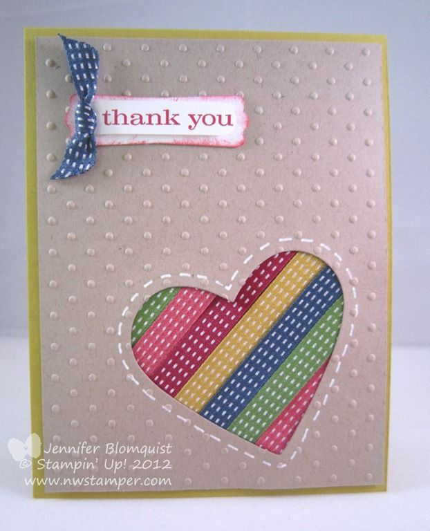 Heart punch with ribbon or paper behind. Love the embossed Kraft background!