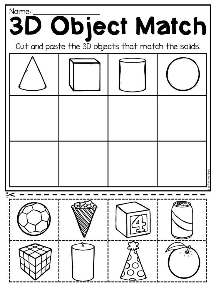 Matching 3d Objects Worksheet For Kindergarten This Packet Is Jammed Fu Kindergarten Math Free Kindergarten Math Worksheets Free Shapes Worksheet Kindergarten