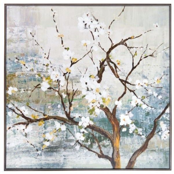 New View  White Blossom Tree Framed Embellished Foiled Canvas (310 PEN) ❤ liked on Polyvore featuring home, home decor, wall art, canvas wall art, flower canvas wall art, spring tree, framed canvas wall art and blooming trees