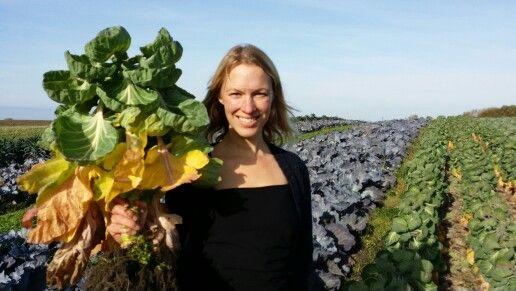 Mette Helbæk with biodynamic brussel sprouts @ birkemosegaard. Www.stedsans.nu