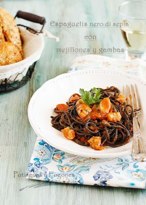 POTINGUES Y FOGONES: Espaguetis al nero di sepia con mejillones y gamba...