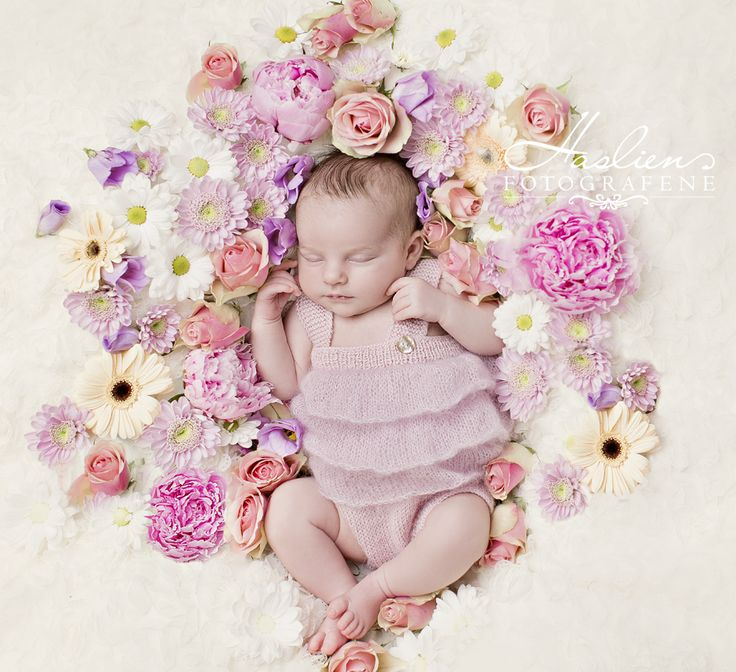 Newborn photography. Newborn sleeping in bed of flowers. More photos one our websites.