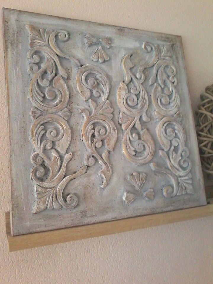 canvas doek 50x50, rubberen mat, krijtverf, koffieprut, boenwas, inka gold.