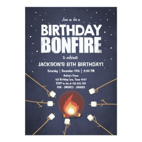 Birthday Bonfire Campout Cookout Party Invitation