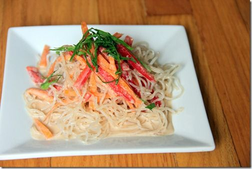 Raw Kelp Noodles with Almond Ginger-Garlic Dressing