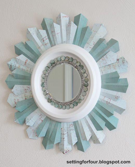 Home Decor - DIY Sunburst Mirror from Setting for Four #mirror #sunburst #diy #craft #home #bead #tutorial