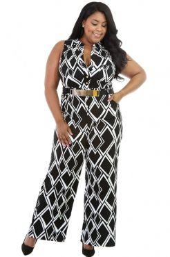 Box Print Wide Leg Black Plus Size Jumpsuit