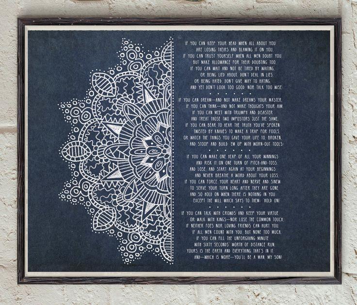 Rudyard Kipling - If Poem - Mandala Art - Poetry Poster - Decorative Print - Poem Wall Art - Inspirational Poem - Digital Download Art by Lepetitchaperon on Etsy
