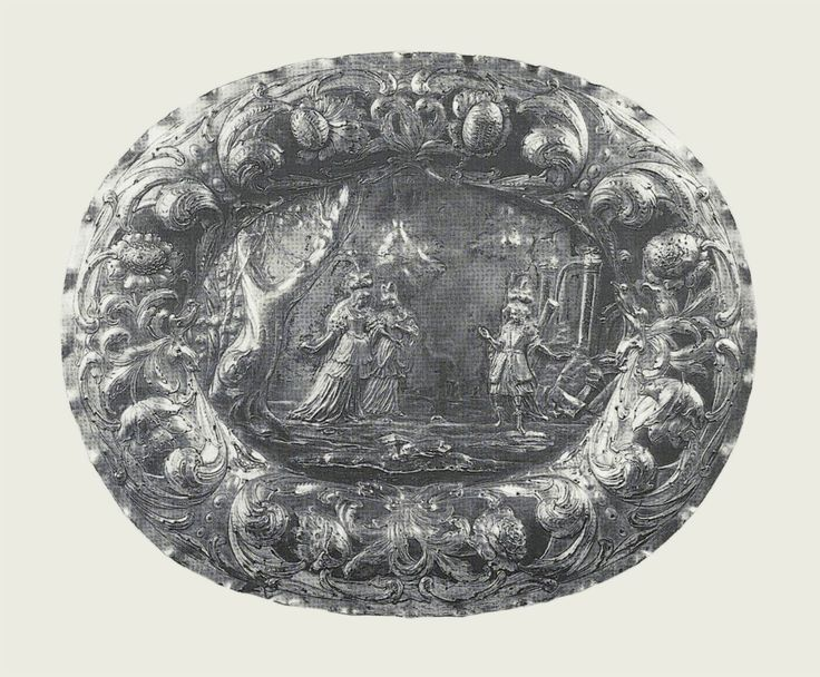 "Silver tray with a scene from opera ""Il Pomo d'oro"" by Hans Polmann in Gdańsk after Lodovico Ottavio Burnacini, ca. 1670, Cathedral Treasury in Tarnów; the opera by Antonio Cesti was staged in the imperial theater in Vienna between 12 and 14 July 1668 and was seen by king Michael's wife Eleanor Maria Josepha of Austria"