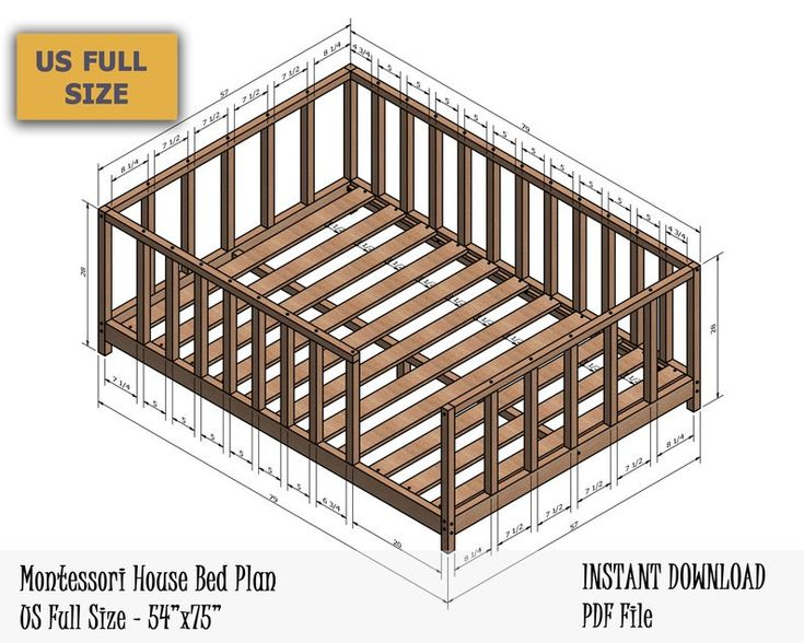 Montessori Canopy Bed Plan Full Bed Toddler Bed Frame DIY ...