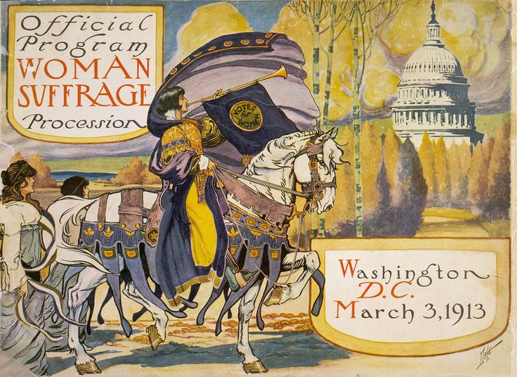 This is the cover of the program for the 1913 New York Women's Suffrage Parade. I love the art!
