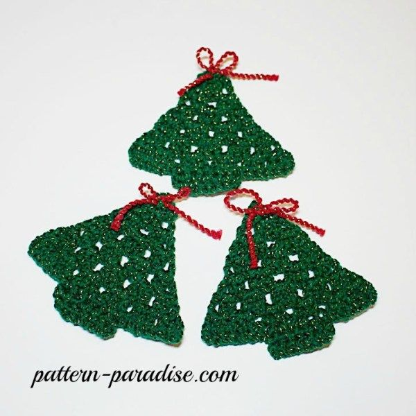 Free Crochet Pattern Snowflakes Trees Coasters Garland Pattern Paradise Crochet Tree Free Crochet Pattern Christmas Crochet