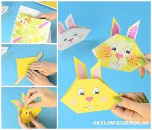 Kağıt Katlama Sanatı İle (origami tavşan yapımı) Tavşan Yapımı | Okul Öncesi Kolik