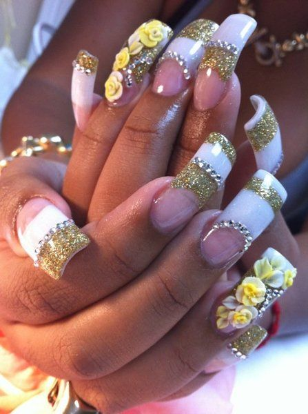 French Manicure with Glitter layers, rhinestones and 3D floral designs