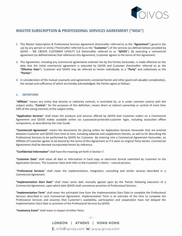 40 Master Service Agreement Template In 2020 Statement Template