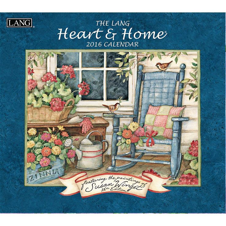 "Heart and Home 2016 Wall Calendar | $15.99 | Homespun goodness overflows from the pages of Susan Winget's 27th Edition of ""Heart & Home."" This 2015 calendar is an array of home scenes relatable to all from the country, to beach and all in between with scenes to warm the heart and enhance the home."