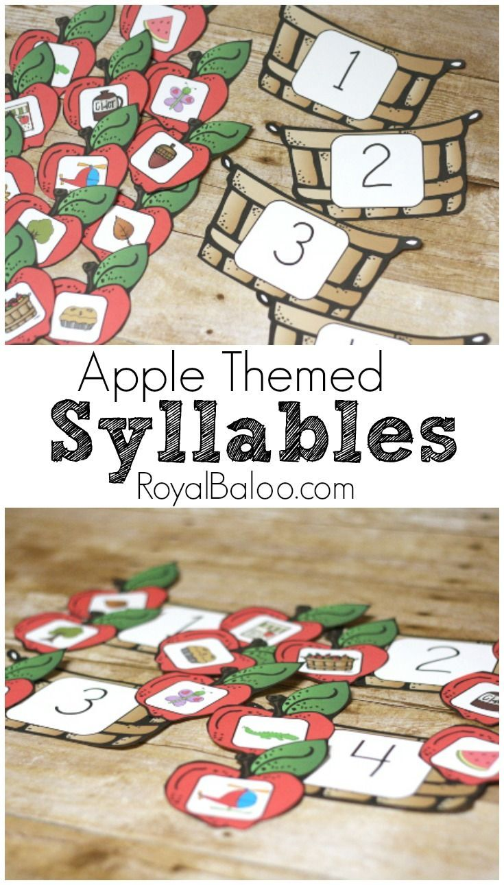 Free Apple Themed Syllable Sorting Game *use for whole group activity/each student places their Apple in the basket
