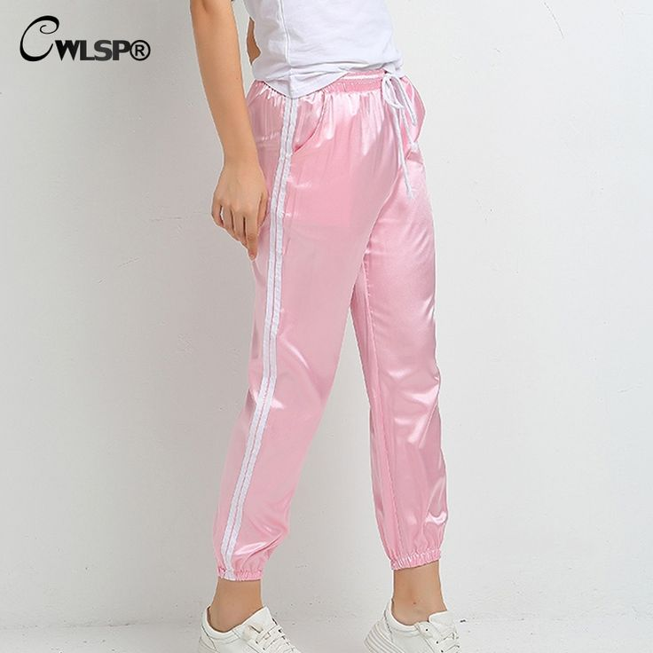 CWLSP Women Casual Hip Hop Pants Side Stripe Satin Silk Trousers Drawstring Elastic waist sweatpant pantalon taille haute femme #Affiliate