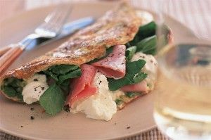 10 omelette recipes -Cheese and ham is a classic omelette filling. Give your dish a posh finish like this recipe from Essentials by using a good quality smoked ham and cream cheese. Get the recipe: Smoked ham and cream cheese omelette