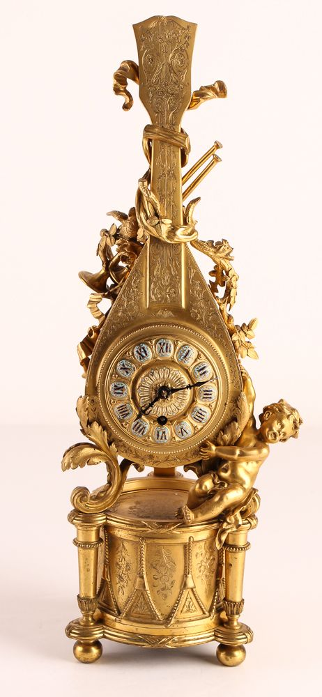 French Gilded Bronze Lute-Shaped Clock