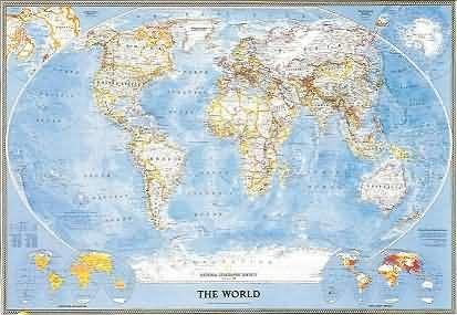 Mapa mural del Mundo (Político) - 3 Hojas - NG - ENG 280x193