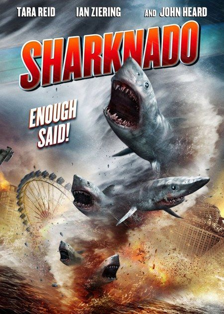 Sharknado Poster Combines Sharks and Tornados! - #SyFy Tonight! Enough said! // The Asylum is behind this thriller about a powerful shark-filled tornado that sweeps through Los Angeles.