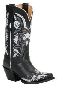 Tony Lama® Vaquero™ Ladies Black Vail Flower Garden Embroidered Snip Toe Western Boot.  To go with that sexy little black number!