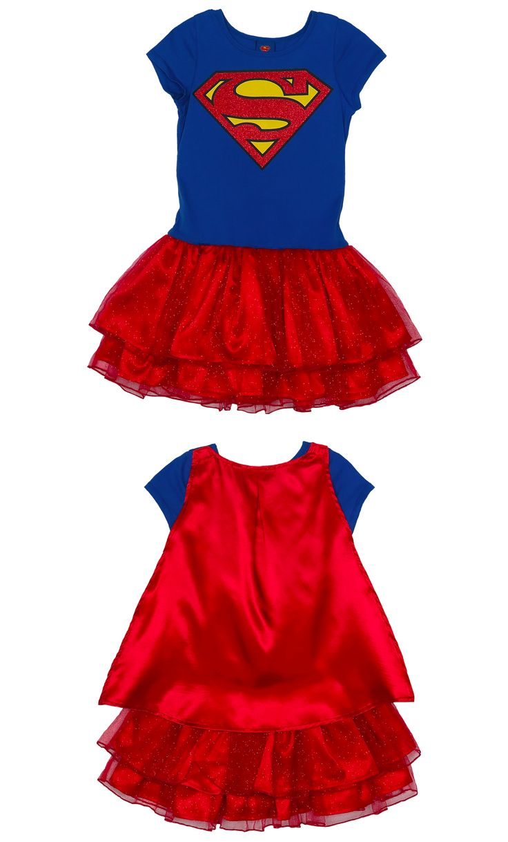 This superhero tutu caped dress helps kids dress up like Supergirl, complete with a fluffy tutu and an attached flowing cape