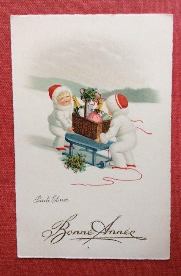 CPSM. Illustrateur Pauli EBNER. Enfants. Neige. Panier. Luge. Bonne Année.