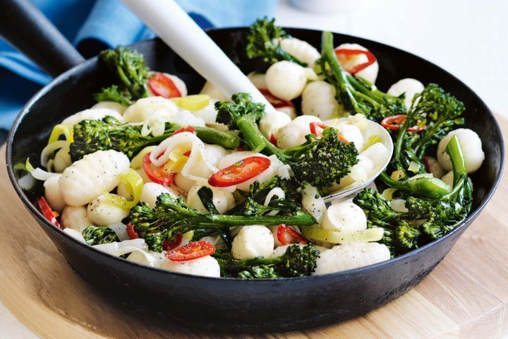 Gnocchi with chilli and baby broccoli