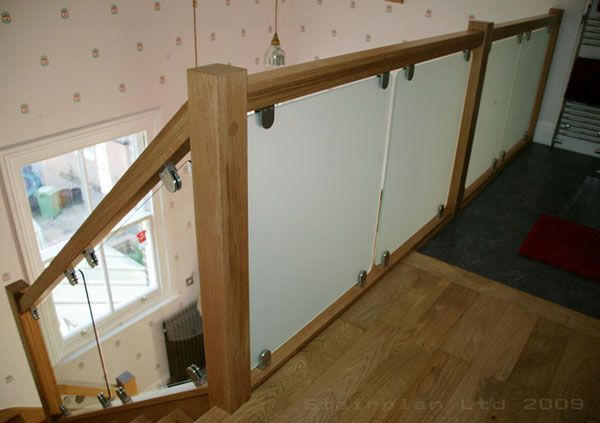 Glass with stainless steel brackets
